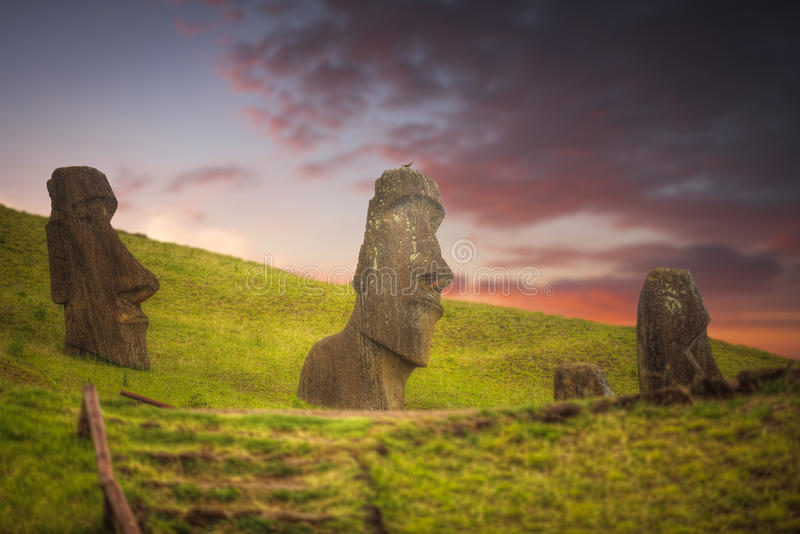 Easter island. Moais at Ahu Tongariki Easter island, Chile stock images