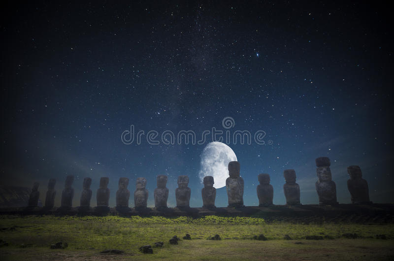 Easter island. Moais at Ahu Tongariki Easter island, Chile. night shining moon and stars stock images