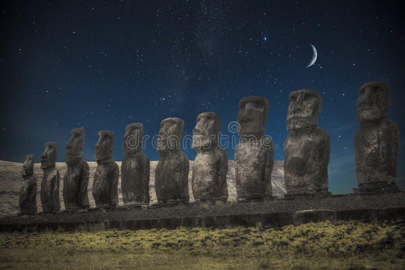 Easter island. Moais at Ahu Tongariki Easter island, Chile. night shining moon and stars stock photo