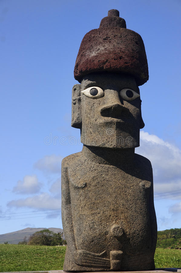 Easter Island - old statues moai on the waterfront royalty free stock image