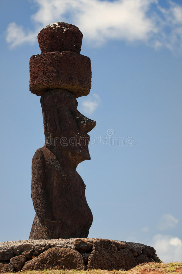 Easter Island - old statues moai on the waterfront royalty free stock images
