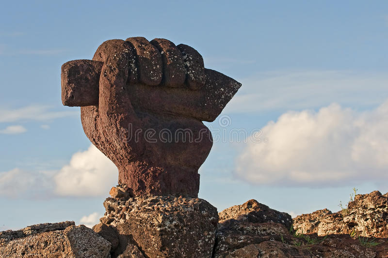 Easter Island - old statues moai on the waterfront stock image