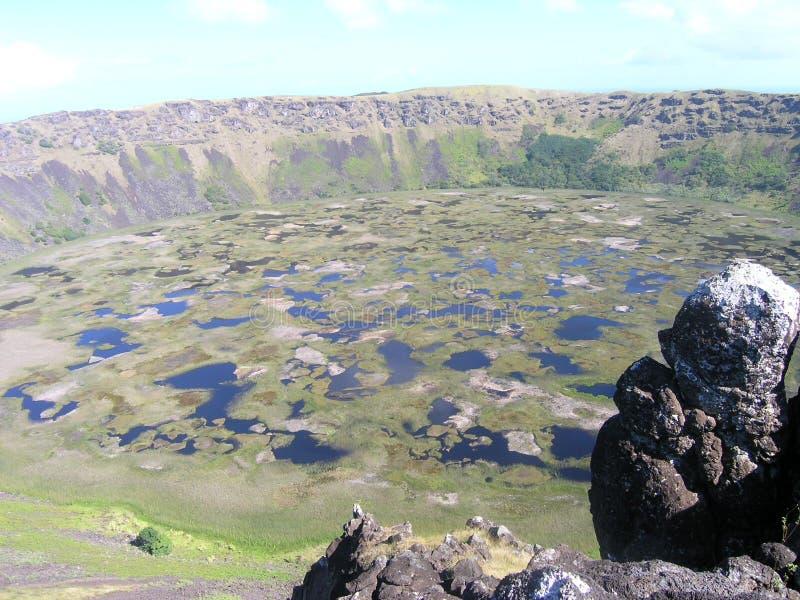 Easter Island - Rano Kau volcano stock images