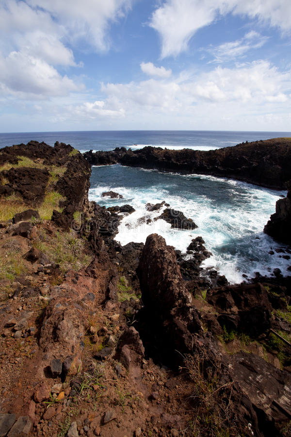 Download Easter Island Rocky Coast Line Under Blue Sky Stock Image - Image: 22284019