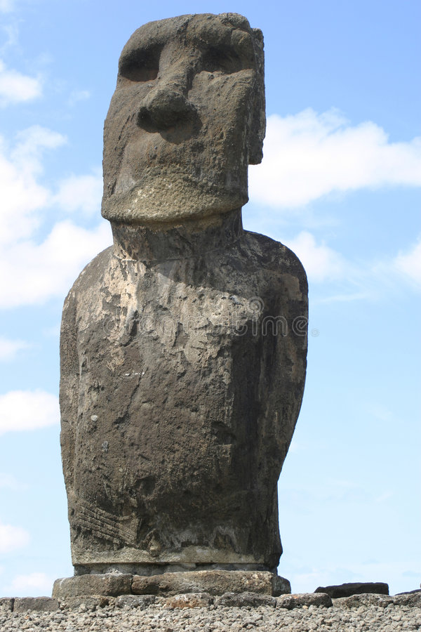 Easter Island Solitary Statue royalty free stock photography