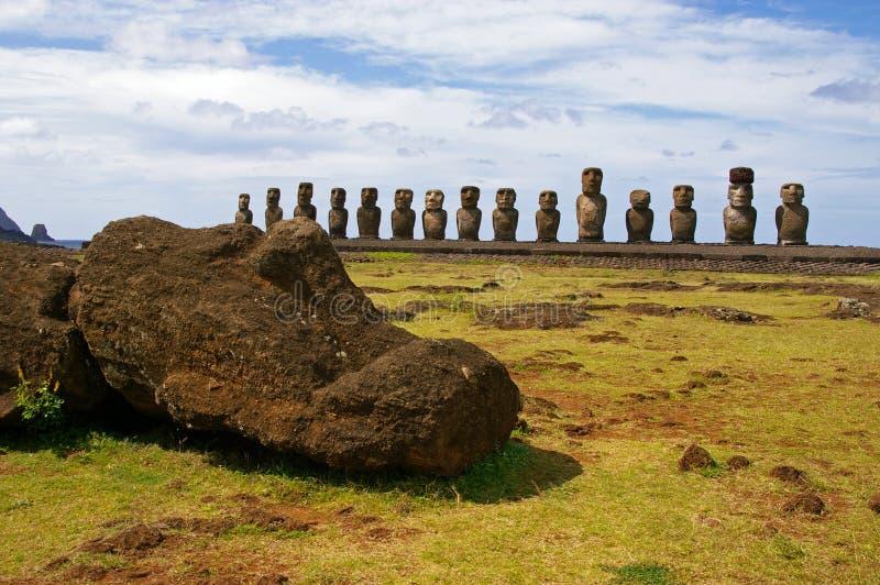 Easter Island Statues- Tongariki. Moai (stone statues) at Tongariki on Easter Island royalty free stock photography