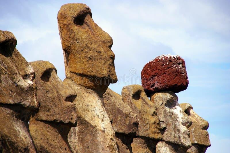 Easter Island Statues- Tongariki. Moai (stone statues) at Tongariki on Easter Island royalty free stock photos