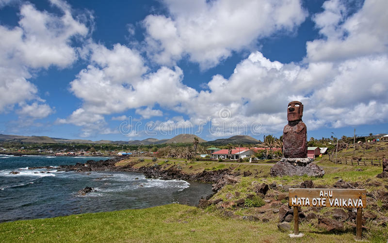 Easter Island - view of Hanga Roa - the only village on the isla royalty free stock image