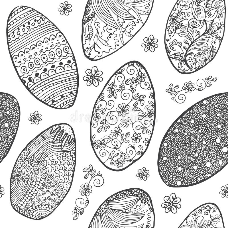 easter jajek wzór bezszwowy Ornamentacyjna ręka rysujący nakreślenie Easter jajka szczęśliwa Easter wektorowa ilustracja odizolow ilustracji