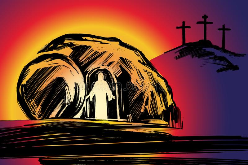 Easter Jesus Christ rose from the dead. Sunday morning. Dawn. The empty tomb in the background of the crucifixion. Symbol of Christianity hand drawn vector royalty free illustration