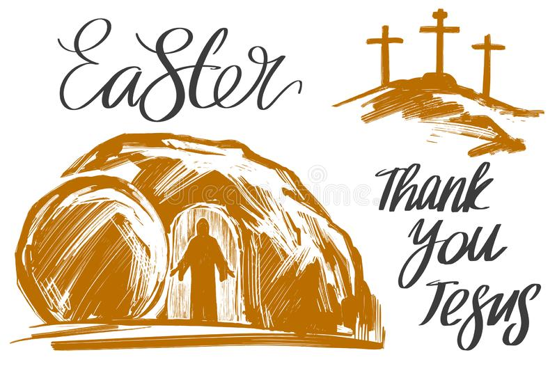 Easter Jesus Christ rose from the dead. Sunday morning. Dawn. The empty tomb in the background of the crucifixion. Symbol of Christianity hand drawn vector stock illustration