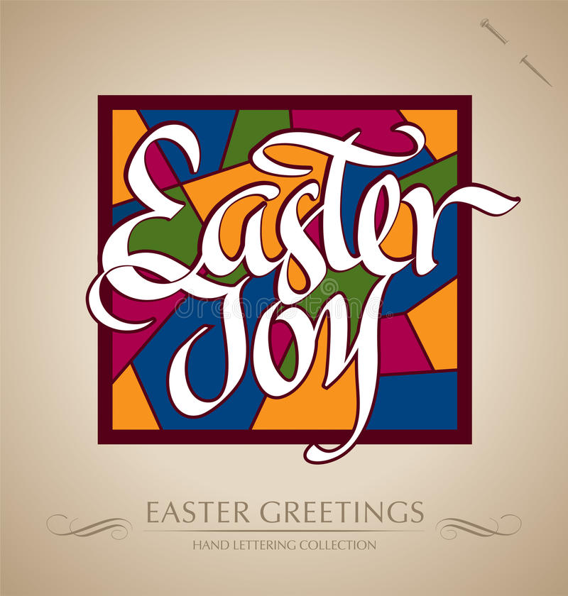 'easter joy' hand lettering (vector) royalty free stock photo