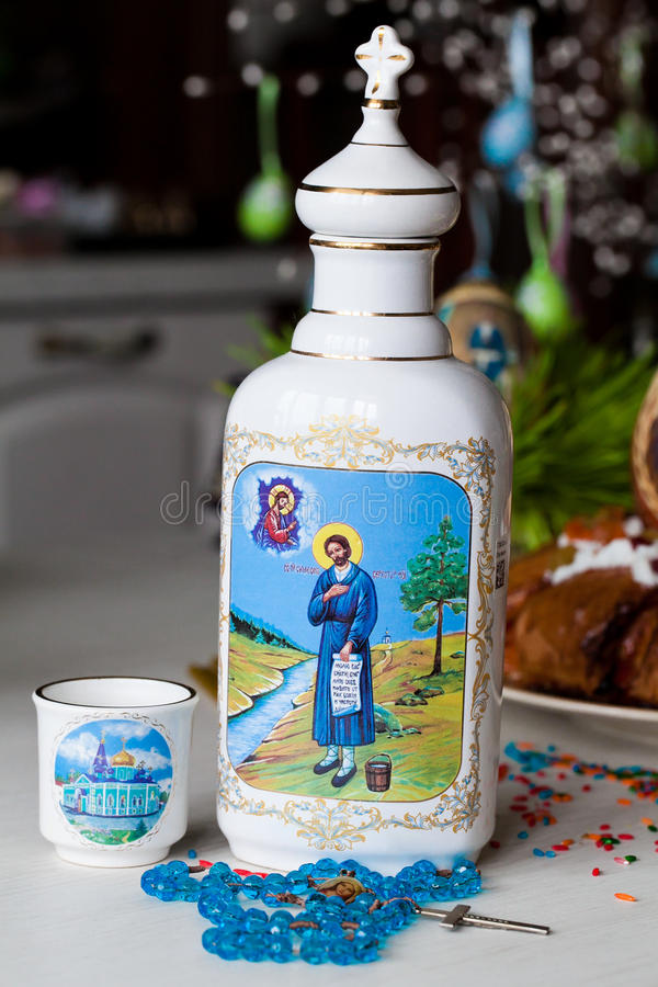 Easter jug ware. In table royalty free stock photos