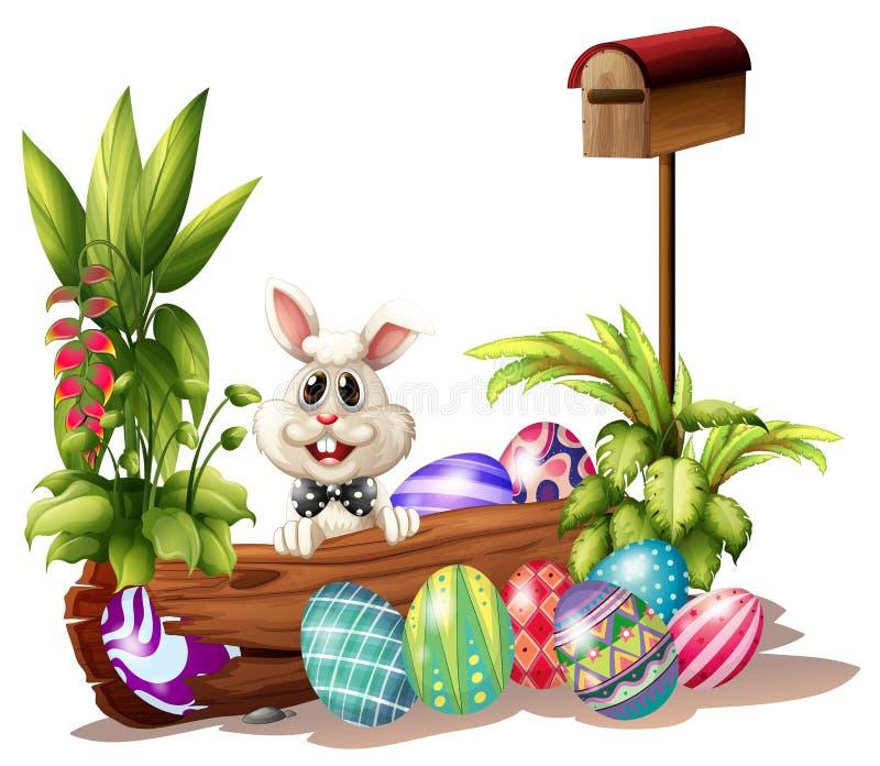 Easter królik blisko skrzynki pocztowa royalty ilustracja