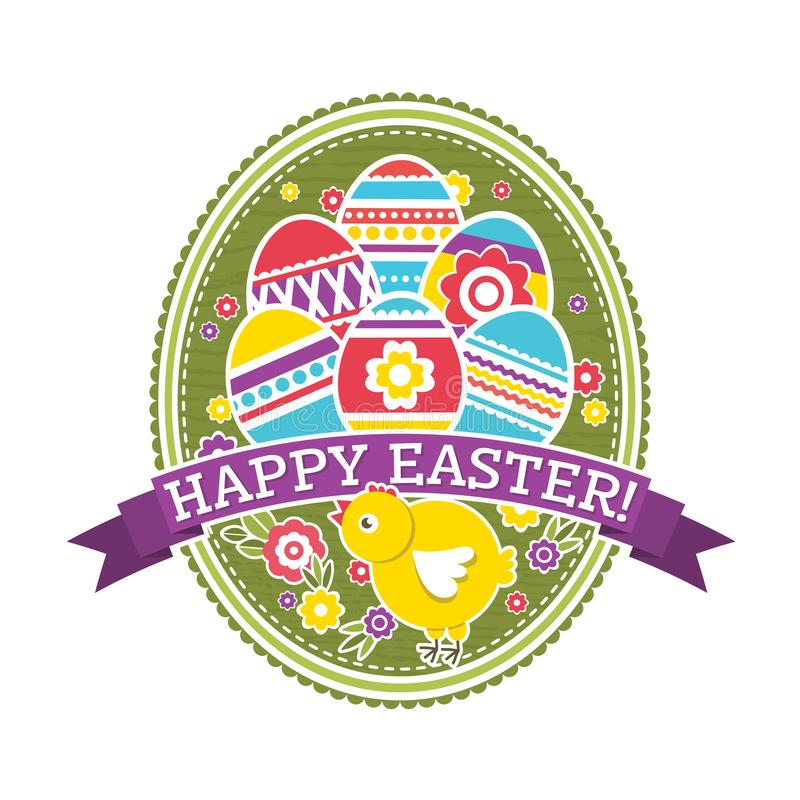 Easter label with color eggs, chicken and flowers. Holiday Easter greetings card. Print design, label, sticker, scrap booking,. Stamp, vector illustration royalty free illustration