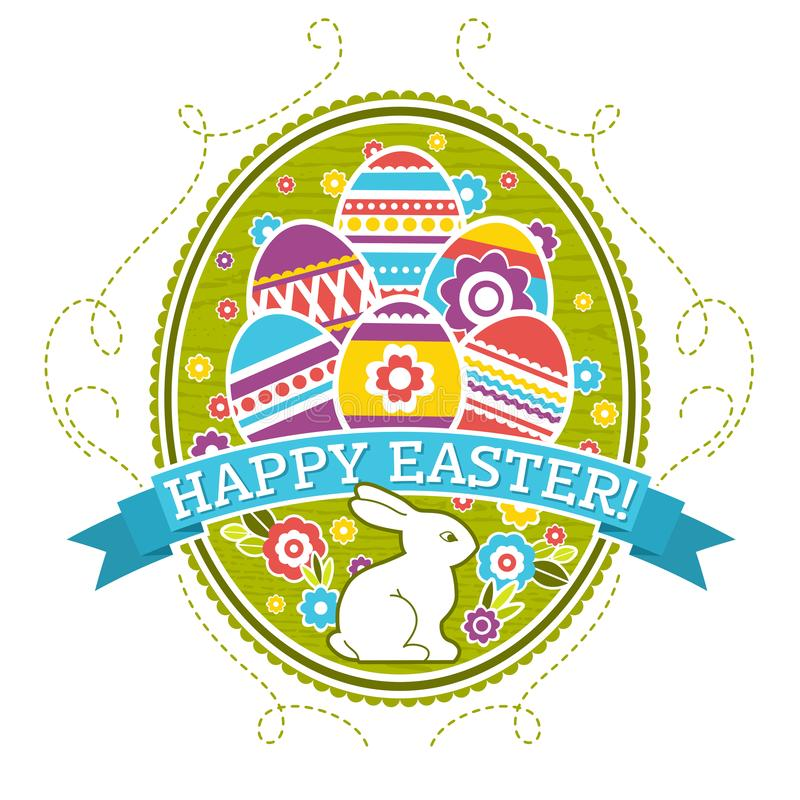 Easter label with color eggs, rabbit and flowers. Holiday Easter greetings card. Print design, label, sticker, scrap booking, vector illustration
