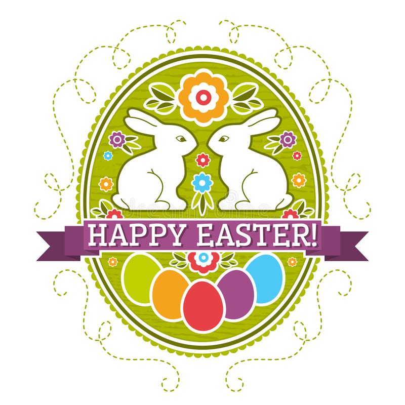 Easter label with color eggs, rabbit and flowers. Holiday Easter greetings card. Print design, label, sticker, scrap booking,. Stamp, vector illustration vector illustration