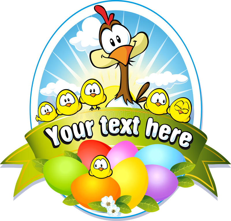 Easter label with colorful eggs, chicken and hen royalty free illustration