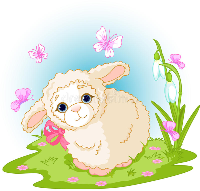 Easter lamb. Spring background with Easter lamb and flowers vector illustration