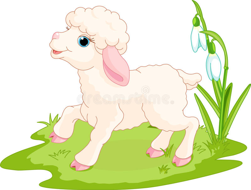 Easter lamb. Spring background with Easter lamb and flowers royalty free illustration