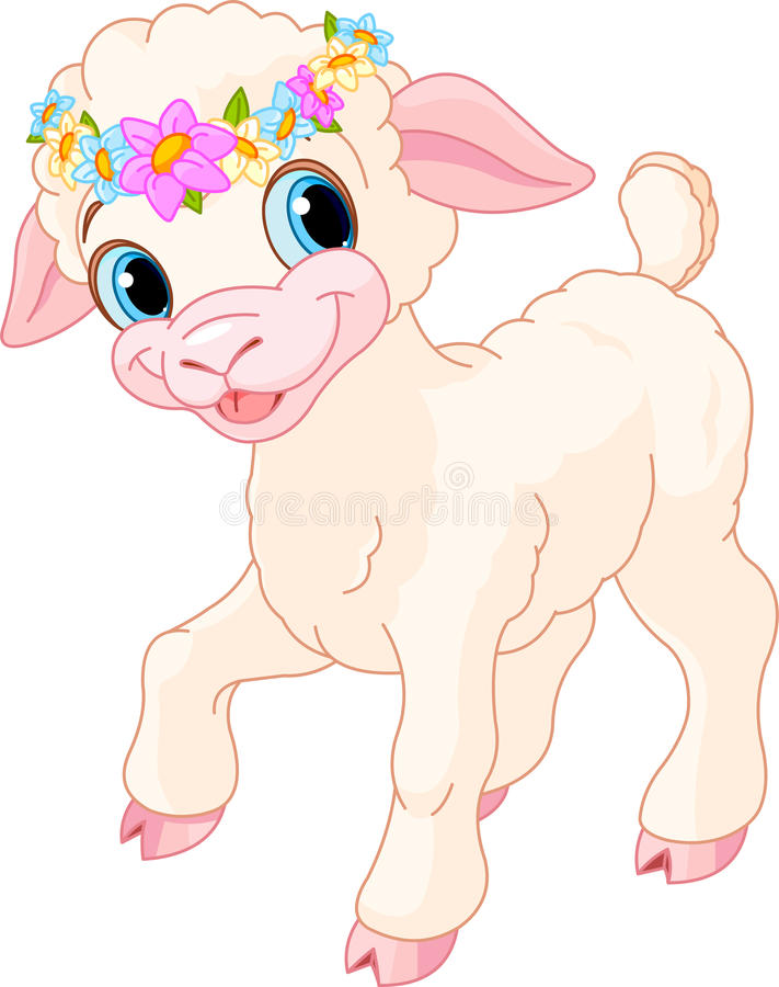 Easter lamb. With circlet of spring flowers stock illustration