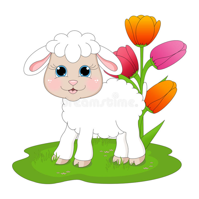 Easter Lamb. An illustration featuring a lamb with tulips royalty free illustration