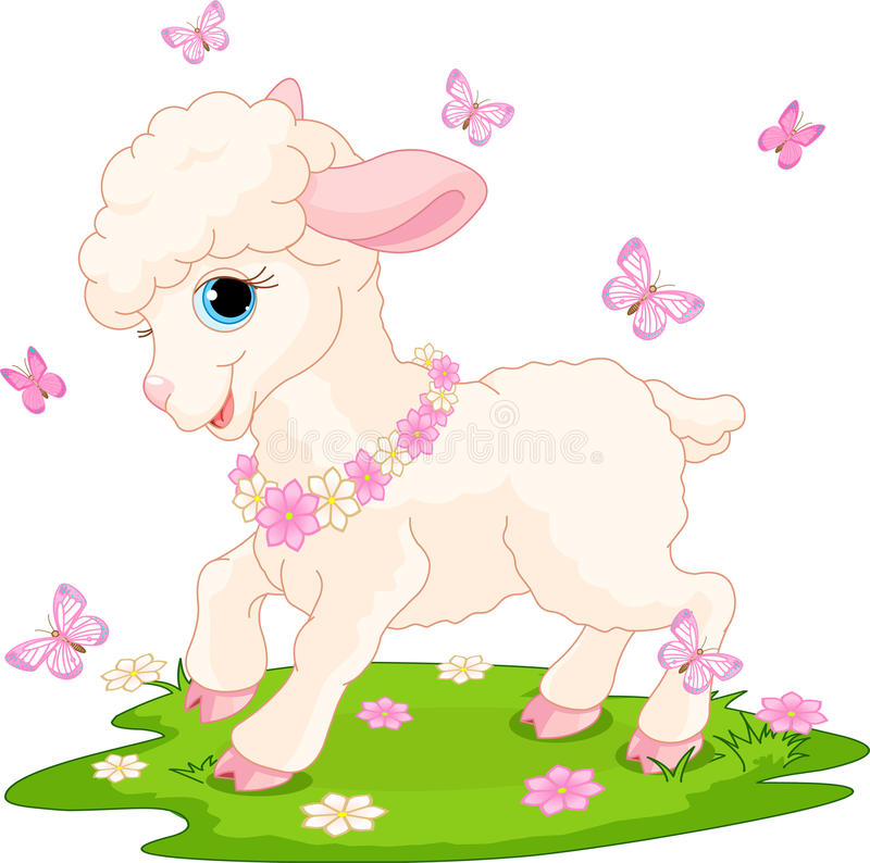 Easter lamb and butterflies stock illustration
