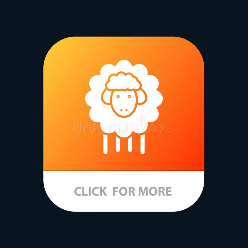 Easter, Lamb, Sheep, Spring Mobile App Button. Android and IOS Glyph Version stock illustration