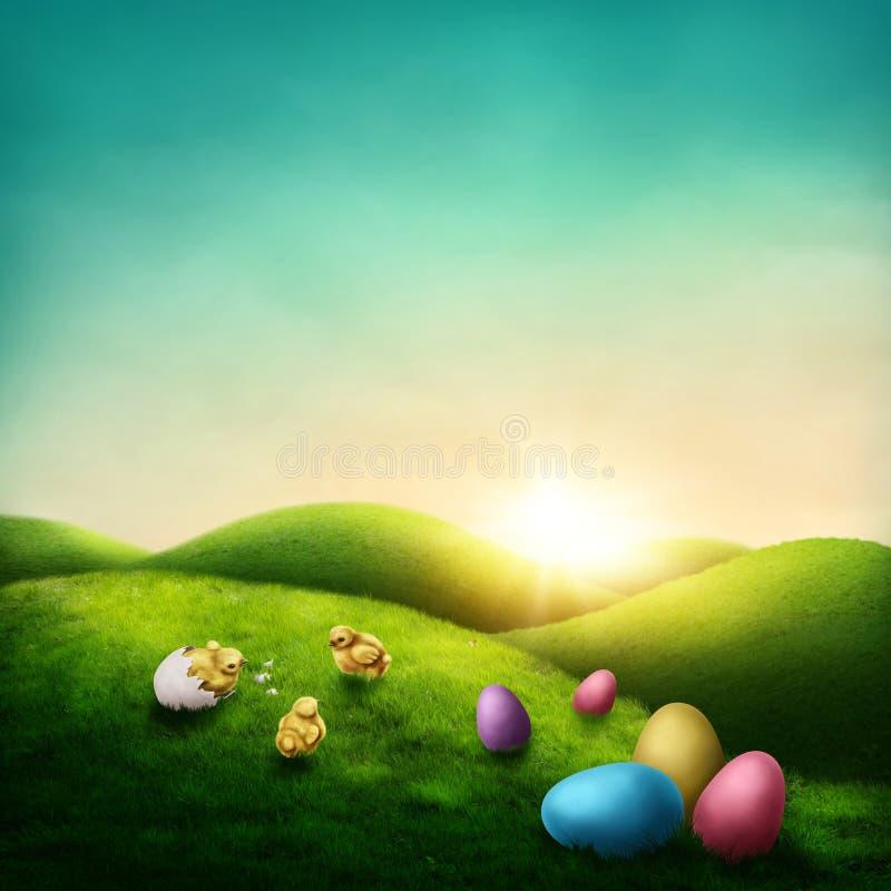 Easter landscape vector illustration