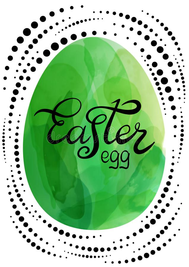 Easter lettering on watercolor egg. Vector illustration created with custom brushes, not auto-tracing royalty free illustration