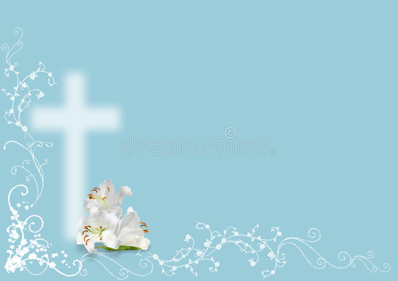 Easter lily and cross. On blue background
