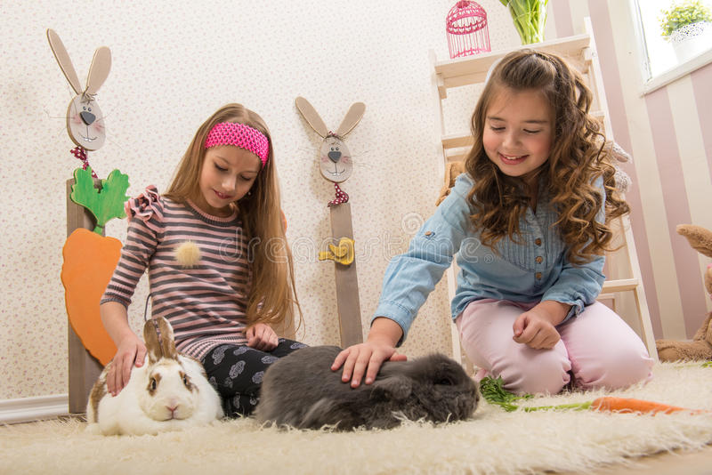 Easter - Little girls stroking the rabbits, hand beets stock image