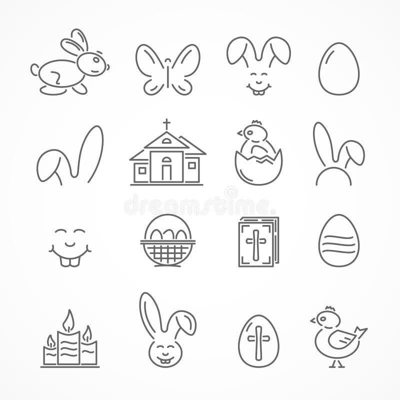 easter lyckliga symboler royaltyfri illustrationer