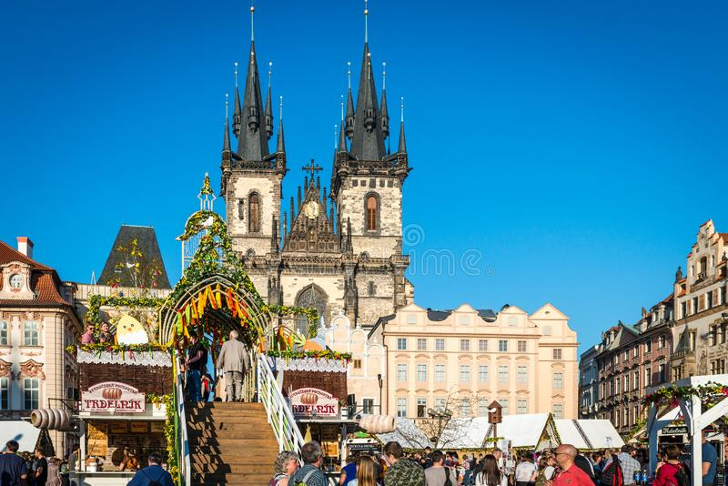 Easter Market in Prague Old Town Square royalty free stock photography
