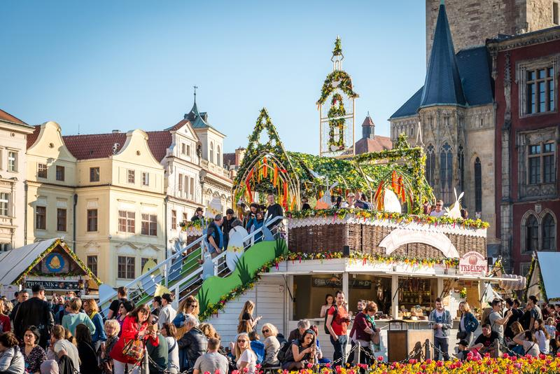 Easter Market in Prague Old Town Square royalty free stock photos
