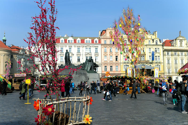 Easter markets on Old Town Square in Prague royalty free stock photography