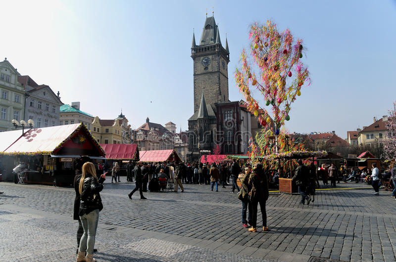 Easter markets on Old Town Square in Prague. Prague, CZECH REPUBLIC-March 25: Easter markets on Old Town Square in Prague, March 25, 2015 royalty free stock photography