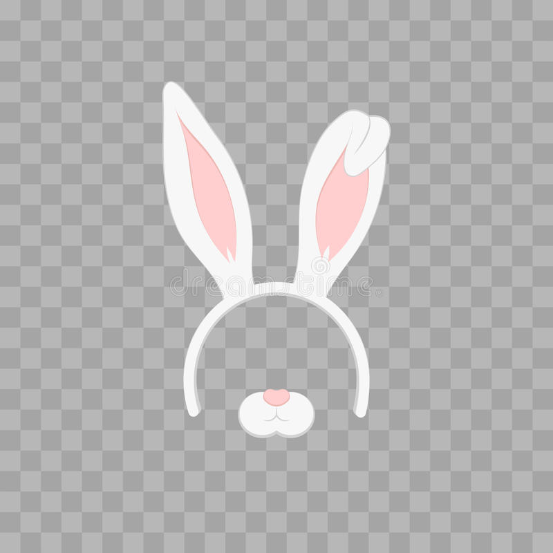 Easter mask with rabbit ears isolated on transparent checkered, illustration. Cartoon Cute Headband with Ears. royalty free illustration