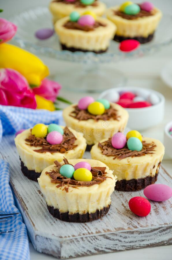 Easter mini brownie cheesecake Bird`s Nest with chocolate and candy eggs. Easter dessert. Funny food idea for children. Vertical orientation. Selective focus stock image