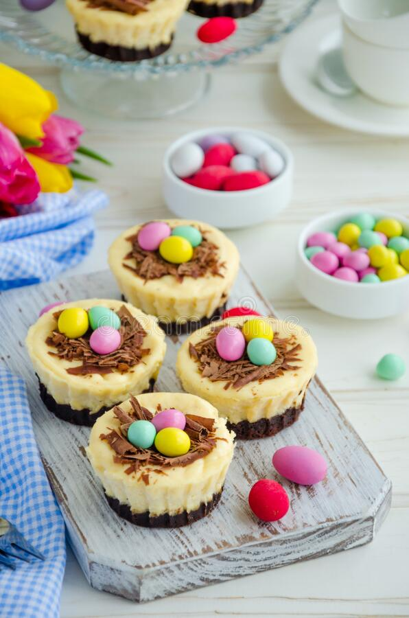 Easter mini brownie cheesecake Bird`s Nest with chocolate and candy eggs. Easter dessert. Funny food idea for children. Vertical orientation. Selective focus stock photos