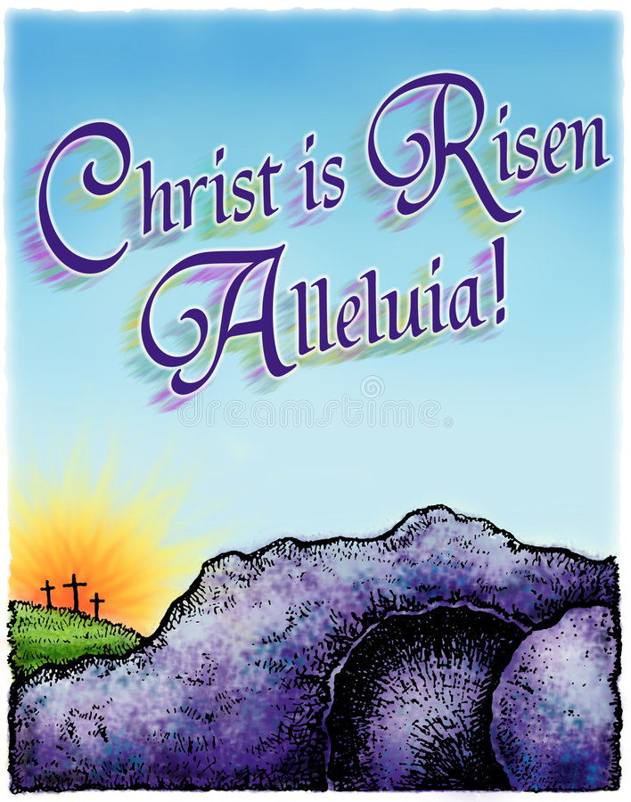 Easter Morning. Illustration of Easter morning, with and empty tomb and the sun rising behing the empty crosses. The heading Christ is Risen, Alleluia! is across