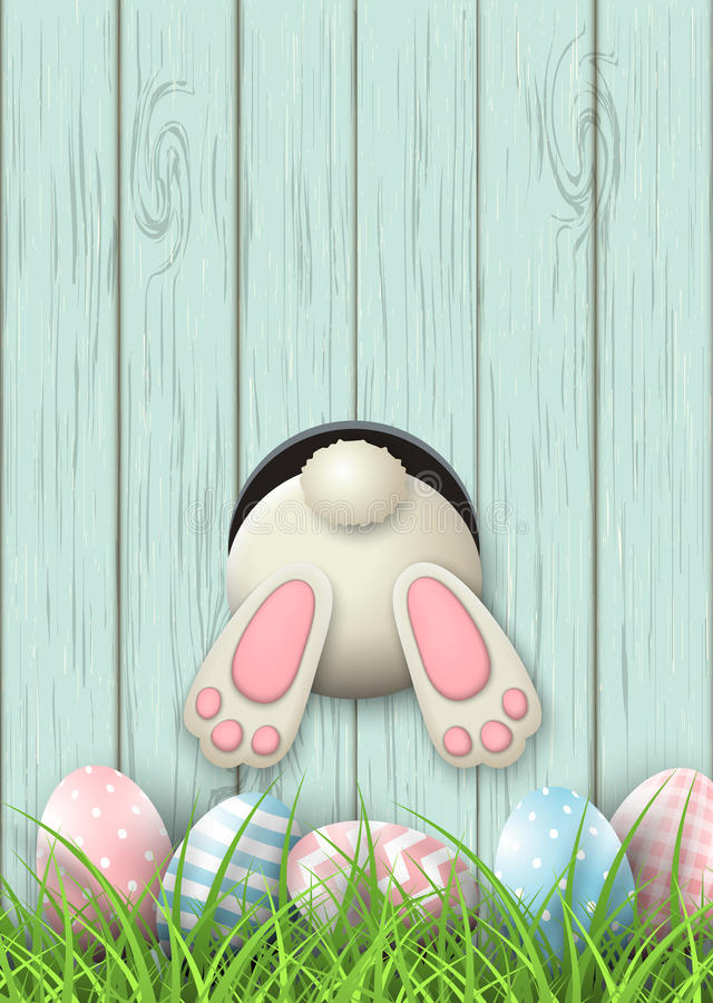 Free Easter Motive, Bunny Bottom And Easter Eggs In Fresh Grass On Blue Wooden Background, Illustration Royalty Free Stock Image - 89061346