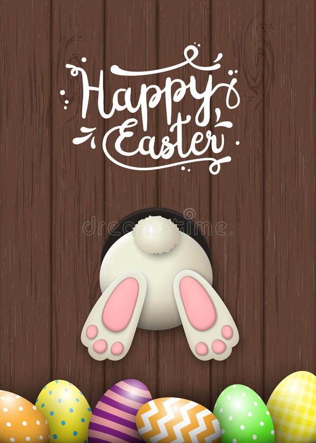 Easter motive, bunny bottom and easter eggs on brown wooden background, illustration vector illustration