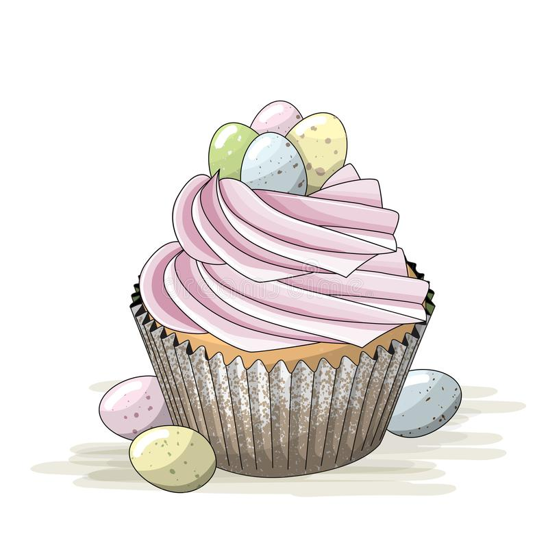 Easter motive, cupcake with pink cream and small colorful eggs, illustration stock illustration