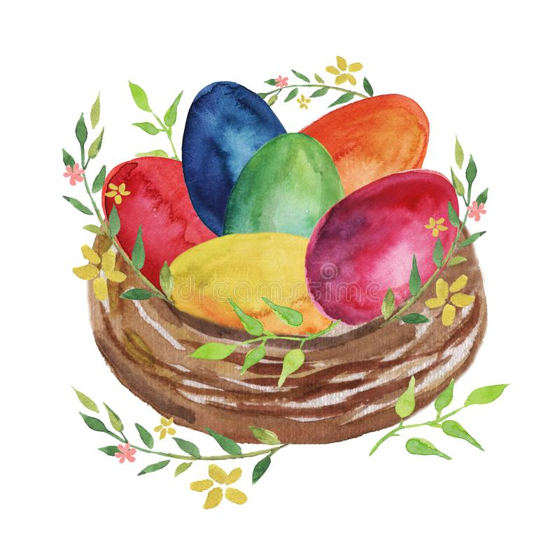 Easter nest with colored Easter eggs, flowers and spring plants on a white background. vector illustration