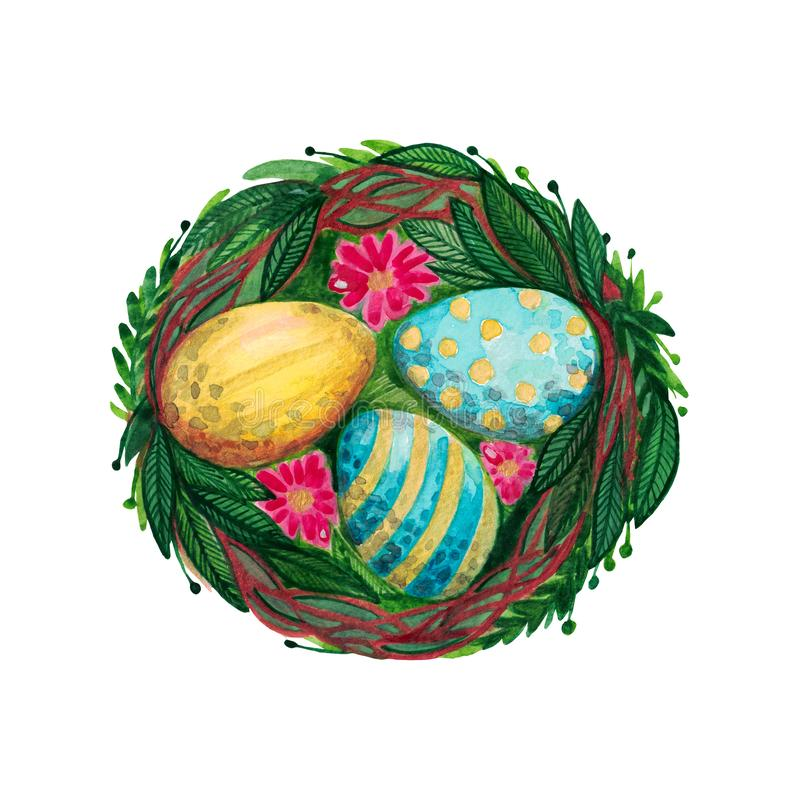Easter nest with decorative eggs green leaves flowers vector illustration