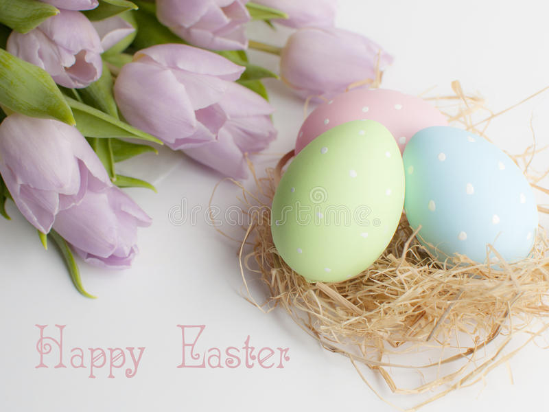 Easter nest with three eggs and bouqet tulips. Mothers day pink gift and bouqet of tulips stock images