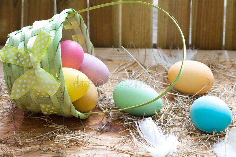 Easter organic colorful decoration eggs in chicken coop spring abstract background. Closeup stock image
