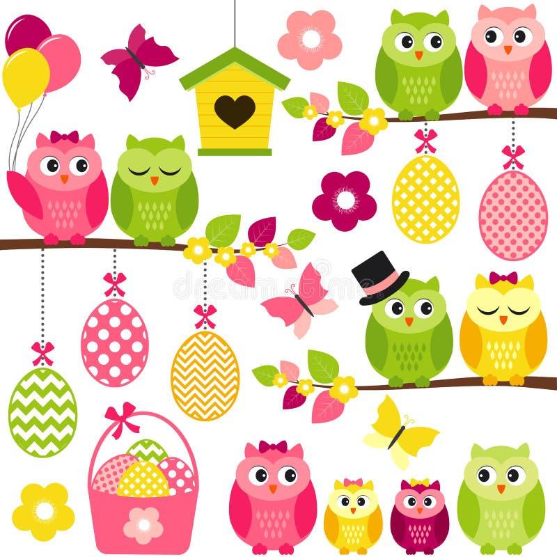 Easter Owls vector illustration