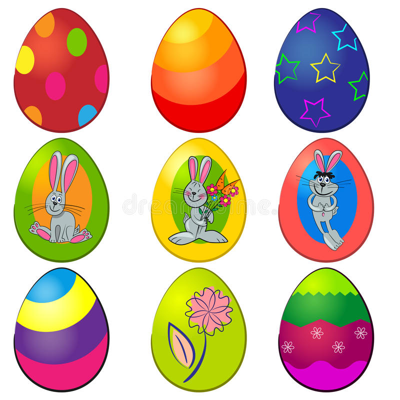 Download Easter painted egg set stock vector. Image of bunny, collection - 23875146